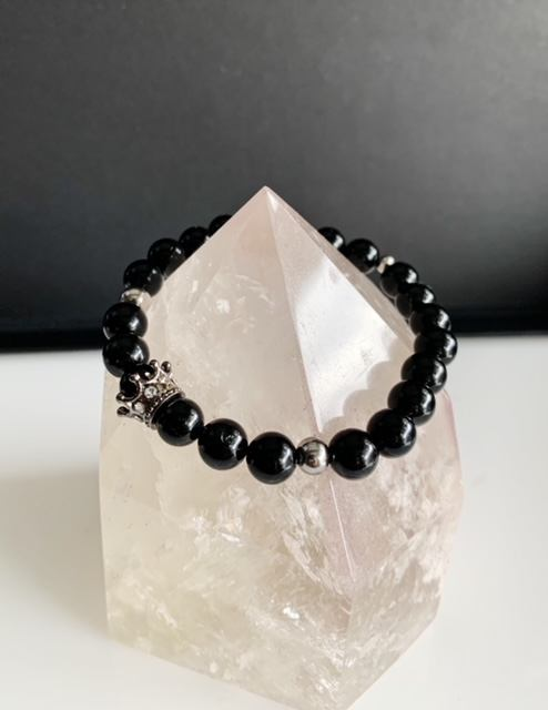 Black Tourmaline Silver Crown